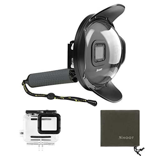 SHOOT Underwater Dome Port for GoPro HERO6 HERO5 HERO2018(Dome Port+Waterproof Case+Handle) by SHOOT