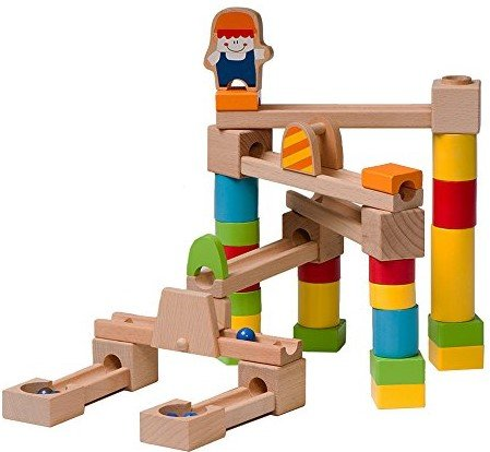 Marble Run - Wooden Marble Run/Maze Construction Set - 40 Piece Set - Marbles Included - Educational Toy - Fun Building Game For Kids (Marble Runs Wooden)