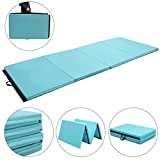 Giantex 4'x10'x2 Gymnastics Mat Folding Panel Thick Gym Fitness Exercise (Blue)