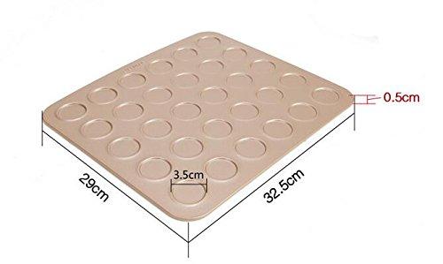 Golden Carbon Steel Macaron Kit Baking Mold Set of Pastry Baking Mat 30-Capacity