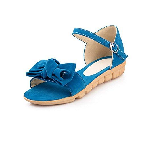Voguezone009 Avokärkinen Bowknot Sininen Asuntoja Naisten Sandaalit Himmeä Kiinteä Pu pr4FqpxUwO