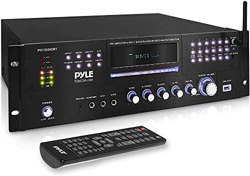 4 Channel Pre Amplifier Receiver – 1000 Watt Rack Mount Bluetooth House Theater-Stereo Encompass Sound Preamp Receiver W/Audio/Video System, CD/DVD Participant, AM/FM Radio, MP3/USB Reader – Pyle PD1000BT