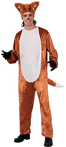 Mens What Does The Fox Say Complete Costume Set with Jumpsuit and Headpiece Brown/White
