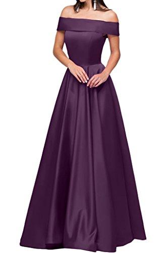 Satin Linie Modern A Partykleid Ausschnitt Ivydressing Lang Damen Festkleid U Abendkleid Traube Promkleid HIYwfq