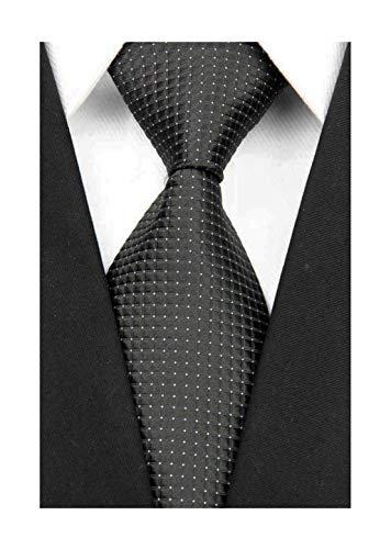 Wehug Men's Classic Solid Tie Silk Woven Necktie Jacquard Neck Black Ties For Men LD0056