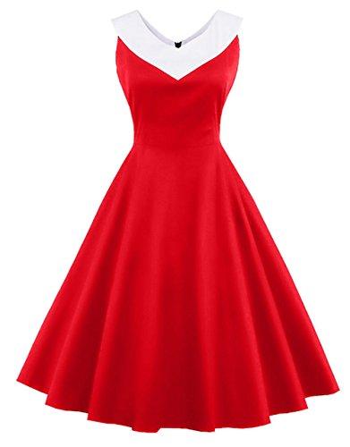 97814f77f47e Bestfort Damen Vintage Kleider Rundhals 50er Retro Mode Ärmellos  Cocktailkleider Knielang Festliche Rockabilly Kleid Spleiß Rot