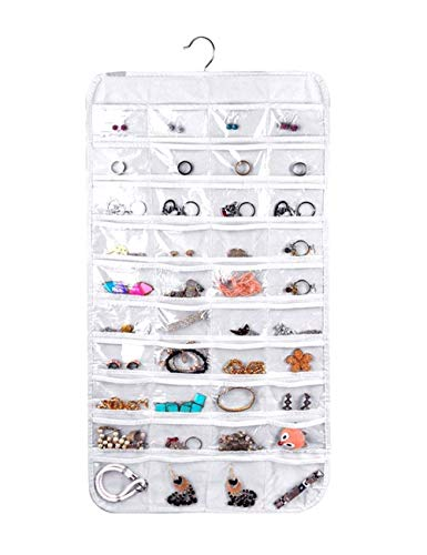 Hanging Jewelry Organizer, Non-Woven Double Sides 80 Clear Pockets Jewelry Wall Organizer for Storing Jewelries, Earrings, Necklaces, Makeups, Hair Accessories organizers in Closet, Travel #white
