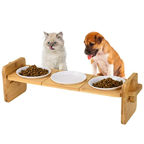 Petacc Elevated Dog Bowls Raised Pet Bowl Dog Bowls Cat Feeders with Bamboo Holder and 3 Melamine Bowls for Cats and Small Dogs, 2 Usage Ways (1)