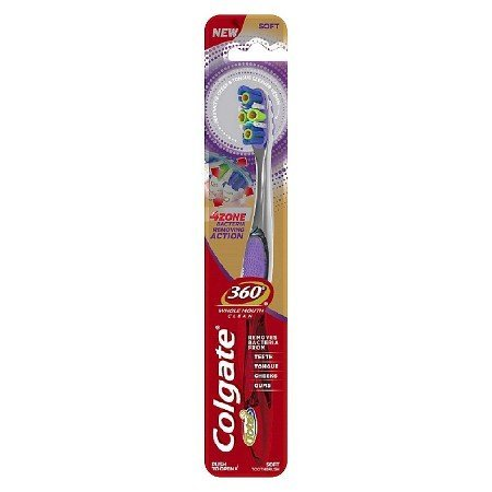 Colgate 360 4 Zone Whole Mouth Clean Manual Toothbrush, Soft (Pack of 3)