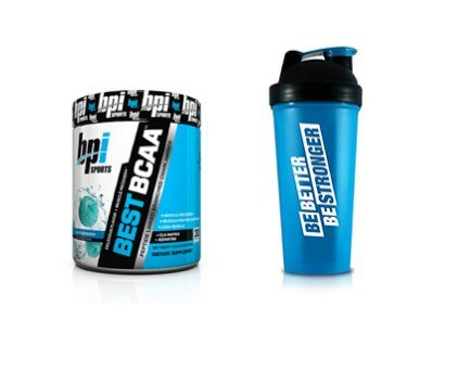BPI Sports Best BCAA Powder, Blue Raspberry, 30 Serving, BONUS BPI Shaker Cup