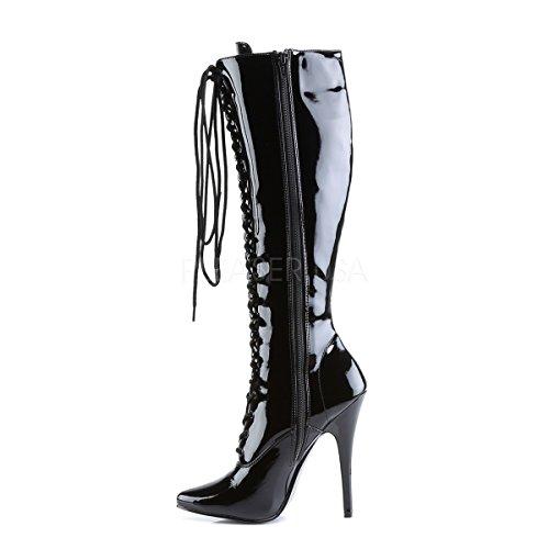 2020 Knee High black patent Laced Boots PleaserUSA High Womens Heel Domina wx8wqOA