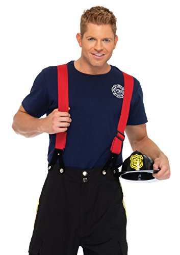 Leg Avenue Men's 3 Piece Fire Captain Costume, Black/Red, (Mens Sports Costumes For Halloween)