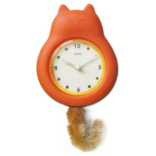 Long Ford Tail Pendulum Clock Swing Swing of the Pendulum Orange Cat design Clock Wall Clock
