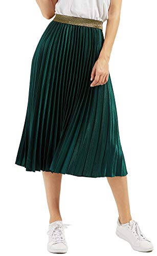 CHARTOU Womens Elastic-Waist Accordion Pleated Metallic Long Party Skirt (Blacklish Green, one Size)