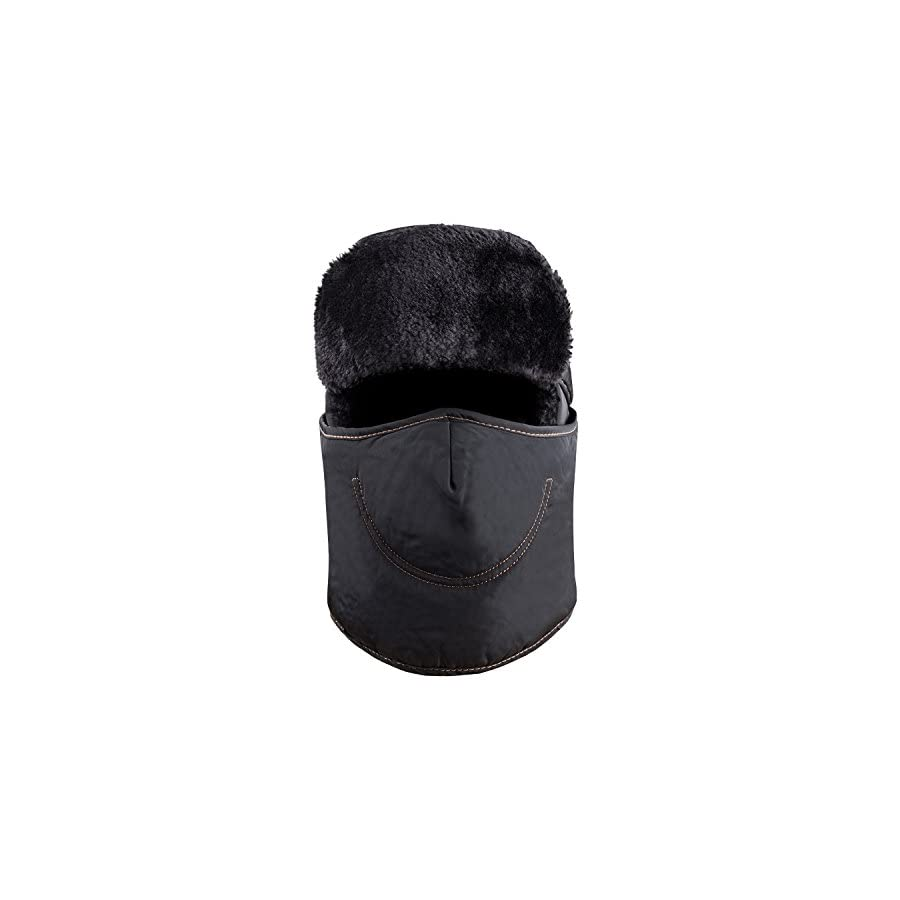 Winter Trooper Trapper Ushanka Hat, 2 in 1 Russian Hat and Ski Windproof Mask Neck Warmer, Thick Faux Fur Fleece Lined Hunting Snow Hat with Ear Flap