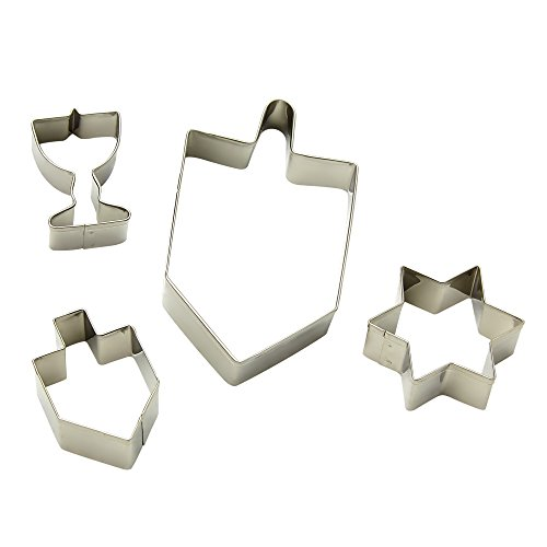 The Kosher Cook Chanukah Cookie Cutter Menorah, Dreidels and Magen David Star of David Shaped Plastic Cutters, Set 4 Pieces
