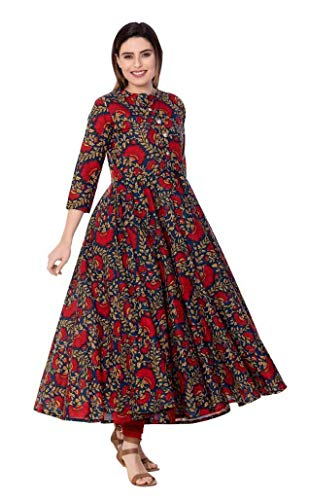 Dream Angel Fashion Women Dress Kurti Bollywood Designer Printed Anarkali Suit Kurta Ready to Wear (Blue, L-38)