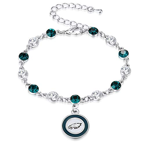 (Pro Specialties Group NFL Philadelphia Eagles Two Tone Crystal Bracelet)