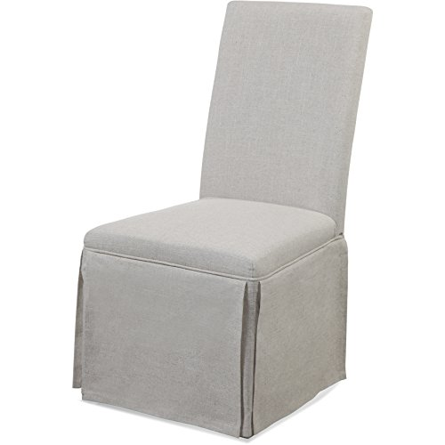 Bassett Mirror Company Grey Linen Skirted Parsons Chair by Bassett Mirror Company