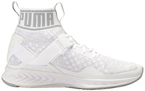 PUMA Herren Ignite Evoknit Cross-Trainer Schuh Puma Weiß / Steinbruch / Vaporous Grey