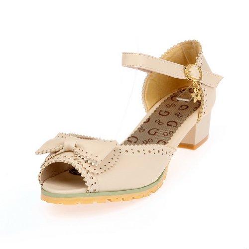 Balamasa Chaussures Plates À Boucle Solide Pour Femme Talons Sandales, Beige (beige), 35