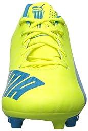 PUMA Evospeed 5.4 FG JR Sneaker (Little Kid/Big Kid),Safety Yellow/Atomic Blue,5.5 M US Big Kid