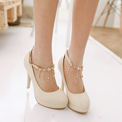 apricot Women's Shoes Heel High Mee Shoes Buckle New Ladies Court U76z1A