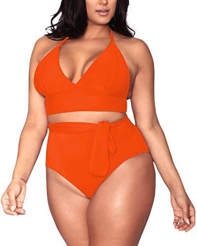 Women's Neon Orange 2 Piece Plus Size High Waisted Tummy Control Swimwear Swimsuit Sets L - Control Neon
