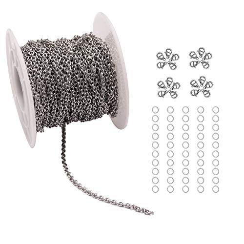 33 Feet Stainless Steel Cable Chains Jewelry Making Chains Spool with 20 Lobster Clasps and 50 Jump Rings for Pendant Necklace DIY Making (Stainless Steel, Chain Width 2.5mm+20pcs Clasps+50 Rings)