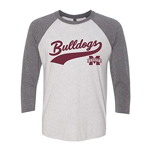 Bulldog Baseball Jersey - AR41 - Mississippi State Bulldogs Baseball Jersey Script 3/4-Sleeve Raglan T-Shirt - Large - HTR White/Premium HTR