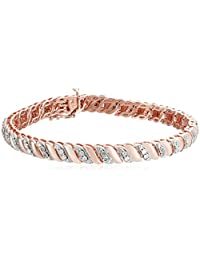 """Sterling Silver Diamond Miracle Plate San Marco Bracelet (1/10cttw, I-J Color, I2-I3 Clarity), 7.5"""""""