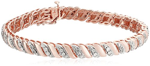 Rose Gold Plated Sterling Silver Diamond Miracle Plate San Marco Bracelet (1/10 cttw, I-J Color, I2-I3 Clarity), 7.25