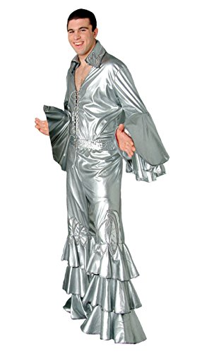 Tabi's Characters Men's Disco Shirt Theatrical Quality Costume, Silver, -