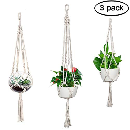Accmor 3 Pack Macrame Plant Hanger Indoor Outdoor Hanging Plant Holder Hanging Stand Flower Pots Planter for Decorations - Cotton Rope, 4 Legs, 3 Sizes]()