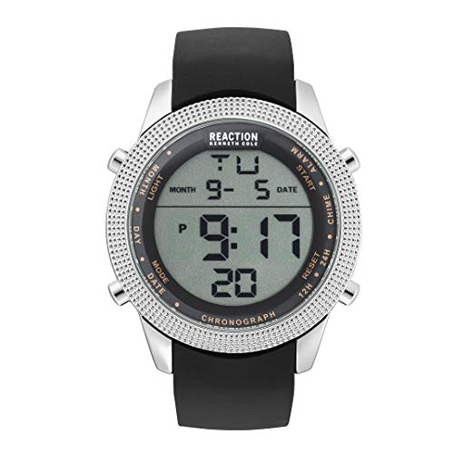 Kenneth Cole REACTION Men's DIGITAL Stainless Steel Analog-Quartz Watch with Silicone Strap, Black, 24.1 (Model: RK50548001