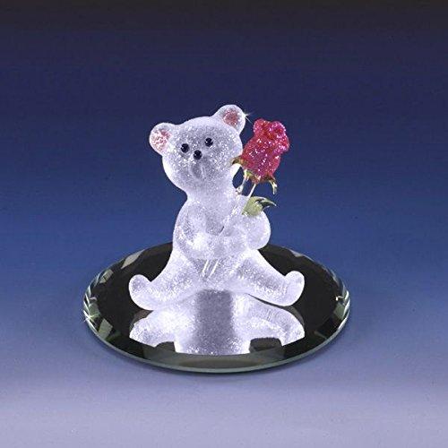 Handmade Glass Bear with Rose - I Love You -