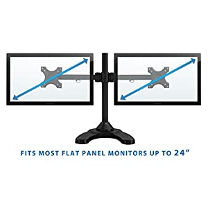 Mount-It! Dual Monitor Desk Mount Stand for LCD LED Computer Displays Two Full Motion Arms Clamp and Grommet Installation Fits for Up To 24 Inch Screens Heavy-Duty 44 Lb Capacity VESA 75 and 100 (MI-781)