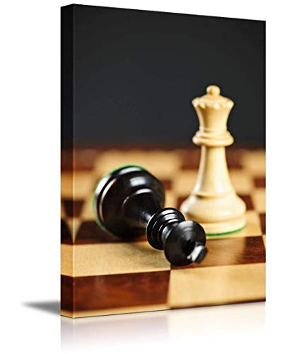 Family Decor Canvas Print Art Modern Poster Art Wall Painting, Closeup of Checkmate on King by Queen Winning in Chess Game   Print on Canvas Stretched and Framed & Ready - Checkmate Painting