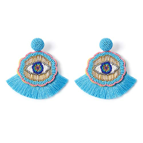 Bohemian Dangle Earrings Beaded - Colorful Handmade Eye Oversized Drop Earrings with Boho Statement Fan Tassel for Women -