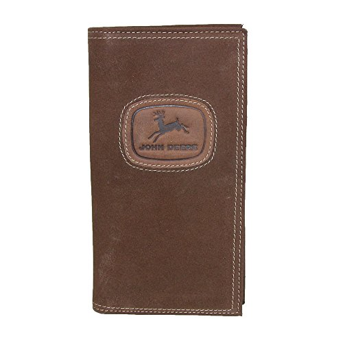 John Deere Checkbook (John Deere Men's Distressed Leather Checkbook Cover, Brown)