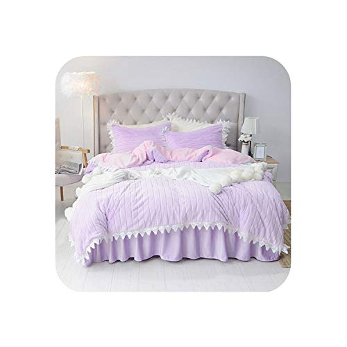 Bedding Set Winter Cashmere Thicken Fleece Bedclothes Ruffles Bed Skirt Camel Carving Bed Linen Sets Korean Style,Violet White,Super King