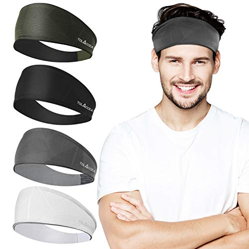 Bandeaux de sport Hommes Bandeau Bandeau Sweat Unisexe pour Entraînement Exercice Gym Cyclisme Football Tennis Baseball et Yoga Bande de Cheveux Unisexe Stretchy Wicking Humidité Cool 4 Packs