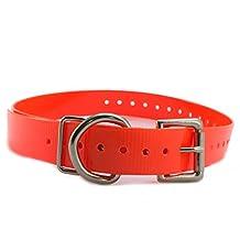 "Sparky PetCo 3/4"" Replacement Dog Collars for Garmin Delta, SportDOG, Petsafe & Bark Limiter Devices - Neon Orange Roller Buckle"