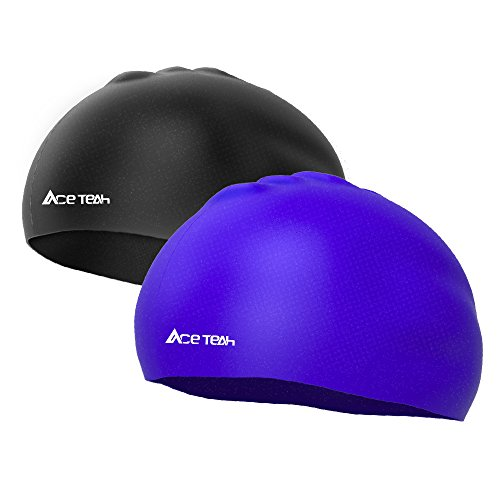Swim Caps, 2 Pack Ace Teah Silicone Adult Swimm...
