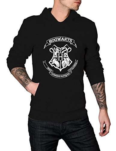 Harry Potter HOGWARTS Logo Hoodie | Black, L