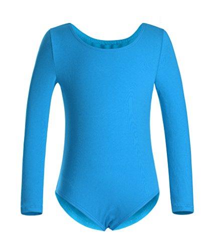 DANSHOW Girls' Team Basic Long Sleeve Leotard for Toddler Gymnastics Dance Ballet (8-10, Blue)