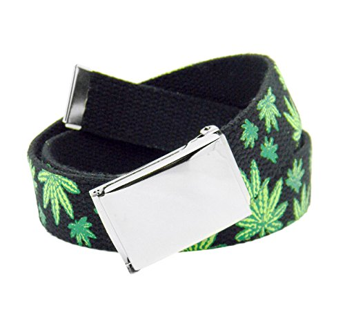 Men's Silver Flip Top Belt Buckle with Printed Canvas Web Belt Small Mary Jane Print