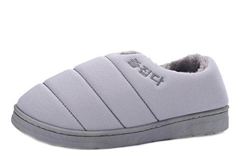Icegrey Damen Herren Warme Hausschuhe Liebhabers Baumwolle gefütterte Schuhe Plüsch Pantoffel Grau 42