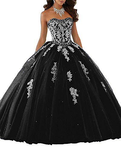 Aurora Bridal Girls' Long Prom Dresses Ball Gown Tulle Lace Quinceanera Dresses Size 8 Black from Aurora Bridal