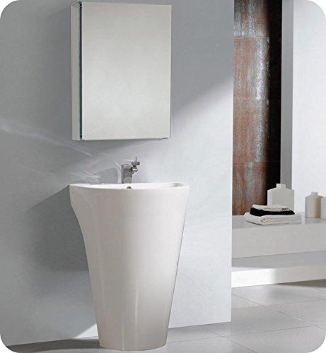 - Fresca Bath FVN5023WH Parma Pedestal Vanity Sink with Medicine Cabinet, White
